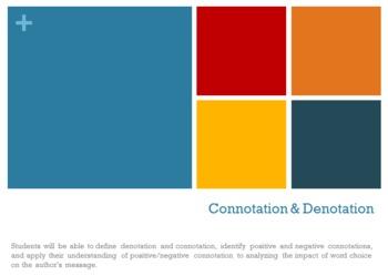 High School Connotation & Denotation Lesson
