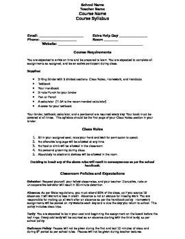 High School Course Syllabus - Editable