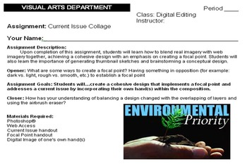 High School - Current Issue  - Digital Editing Assignment w/ Assessment