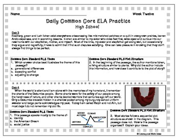High School Daily Common Core Reading Practice Week 12 {LMI}A