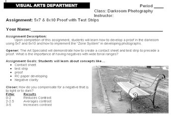High School - Darkroom Assignment - 5x7 & 8x10 Proof with Test Strips