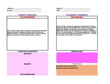 Lesson Plan Templates for High School  with ELA & Math Drop-Lists