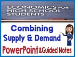 High School Economics Combining Supply & Demand PowerPoint  Guided Notes Quiz