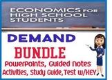 High School Economics Demand UNIT BUNDLE PowerPoints Study Guide TEST