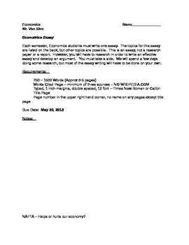 High School Economics Essay Description and Requirements