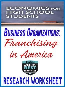 High School Economics Franchising in America Research Worksheet
