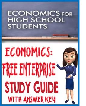 high school economics free enterprise study guide with key tpt rh teacherspayteachers com Microeconomics Study Guide High School Economics Activities