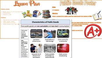 High School Economics Group Activity Public Goods Poster with Rubric