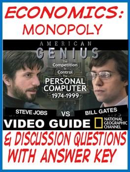 High School Economics Monopoly Video Guide American Genius Jobs vs Gates KEY