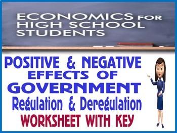 High School Economics Regulation & Deregulation Positive Negative Worksheet KEY