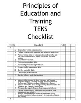 High School Education and Training TEKS Checklists