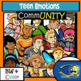 High School Emotions-Portrait Style-30 Pc. Clip-Art BW/Color!