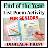 High School End of the Year Activities for Seniors | Poem | Last Day of School