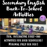 High School English Back to School Activities