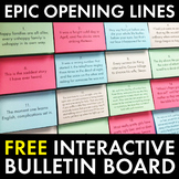 High School English Bulletin Board, Epic Opening Lines, FREE & Easy to Build