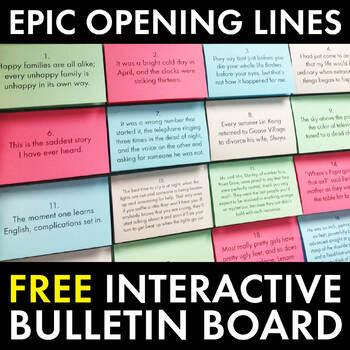 High School English Bulletin Board, Epic Opening Lines, FREE Classroom Decor