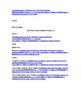 High School English Classroom Supply List