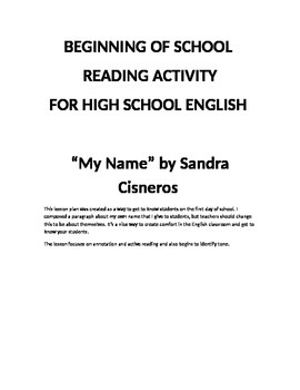 """High School English Getting to Know You Activity with Sandra Cisnero's """"My Name"""""""