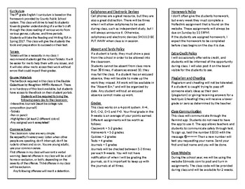 High School English Syllabus for Interactive Notebooks