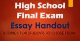 High School Final Exam Essay Handout