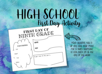 High School First Day Sign Activity