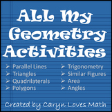 High School GEOMETRY Bundle - All of my Geometry Activities and Walls That Teach