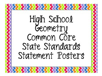 High School Geometry Common Core Standards and Essential Question Posters