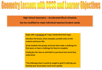 High School Geometry Lessons with CCSS and Learner Objectives