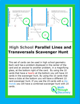 High School Geometry Parallel Lines with Transversals Scavenger Hunt
