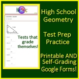 High School Geometry Digital Test Prep Printable + SELF-GRADING Google Forms!