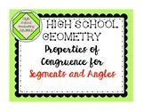 High School Geometry Properties of Congruence for Segments
