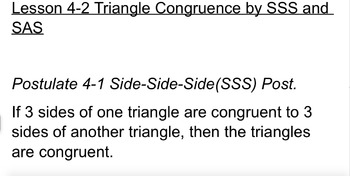 High School Geometry- Triangle Congruence by SSS and SAS