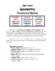 High School Geometry Vocabulary Review Exercises