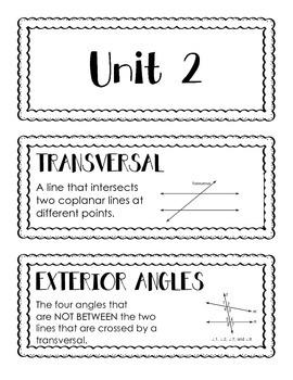 High School Geometry Word Wall Unit 2