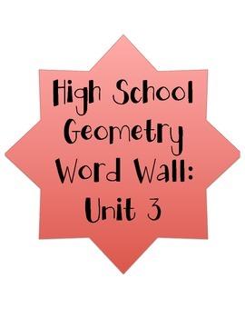 High School Geometry Word Wall Unit 3