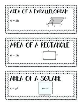 High School Geometry Word Wall Unit 8