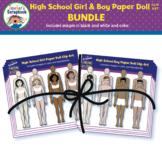 High School Girl & Boy Paper Doll Clip Art BUNDLE