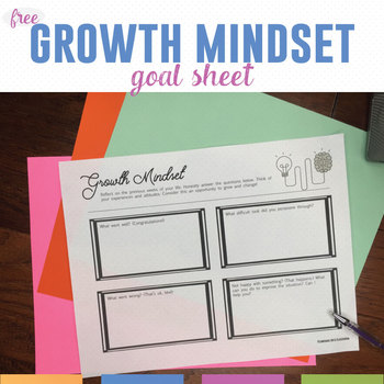 Growth Mindset Goal Setting Sheet