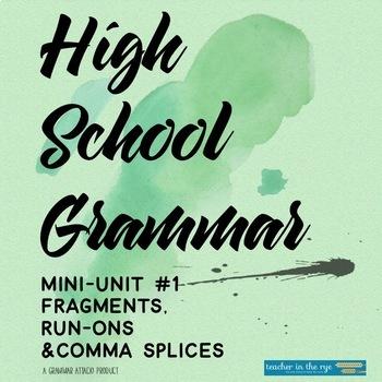 High School Grammar Mini-Unit: Fragments & Run-Ons With As