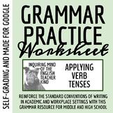 High School Grammar Packet: Applying Verb Tenses (Emphasis on Irregular Verbs)