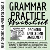 High School Grammar Packet: Pronoun-Antecedent Agreement