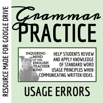 High School Grammar Packet Resolving Common Word Usage Errors Tpt