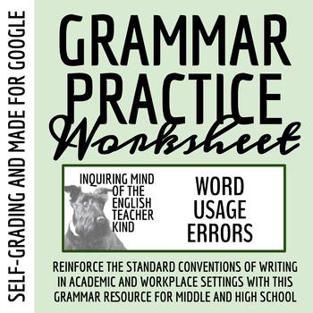 High School Grammar Packet: Resolving Common Word Usage Errors