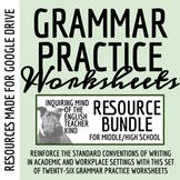High School Grammar Packets Bundle (Commas, Verb Tense, Ac