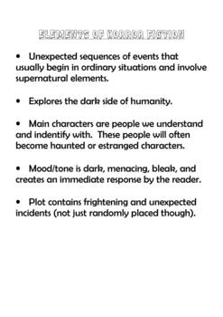 High School Halloween Short Horror Fiction Unit