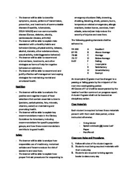 High School Health Education Syllabus by Alex Miosi | TpT