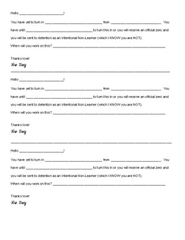High School Intentional Non-Learner Form