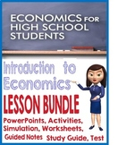 High School Intro to Economics BUNDLE PowerPoints, Activities, Guided Notes test