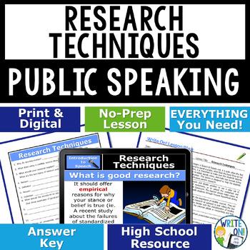 PUBLIC SPEAKING, DEBATE, AND SPEECH - RESEARCH TECHNIQUES - High School