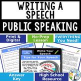 Public Speaking Speech Debate - Writing a Speech Lesson Google Classroom Ready